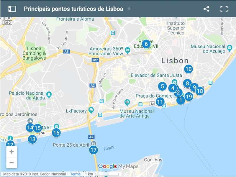 Mapa Com Os 20 Principais Pontos Turisticos De Lisboa Dicas Portugal